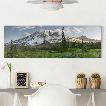 Stampa su tela - Mountain View Meadow Path - Panoramico