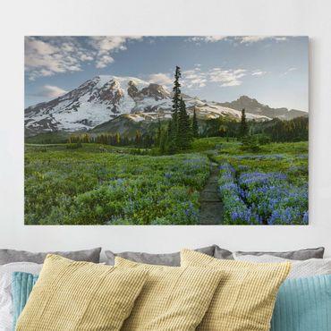 Stampa su tela - Mountain View meadow path - Orizzontale 3:2