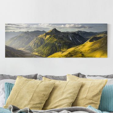 Stampa su tela - Mountains And Valley Of The Lechtal Alps In Tirol - Panoramico