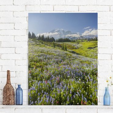 Stampa su tela - Mountain meadow with flowers in front of Mt. Rainier - Orizzontale 3:2