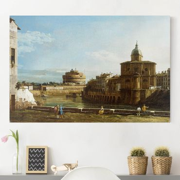 Stampa su tela - Bernardo Bellotto - View of Rome on the Banks of the Tiber, with the Church San Giovanni dei Fiorentini in the Background - Orizzontale 3:2