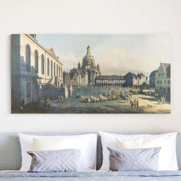 Stampa su tela - Bernardo Bellotto - Piazza Mercato Nuovo a Dresda dal Judenhof - Orizzontale 2:1