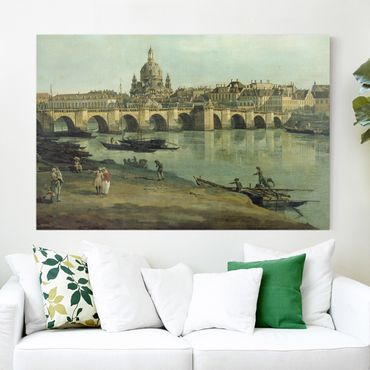 Stampa su tela - Bernardo Bellotto - View of Dresden from the Right Bank of the Elbe with Augustus Bridge - Orizzontale 3:2
