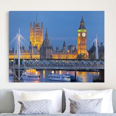 Stampa su tela - Big Ben And Westminster Palace In London At Night - Quadrato 1:1