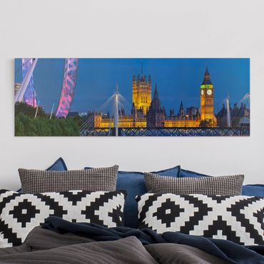 Stampa su tela - Big Ben And Westminster Palace In London At Night - Panoramico