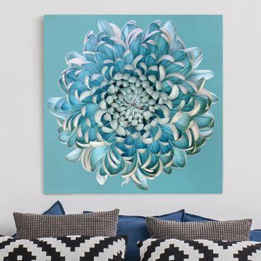 Stampa su tela - Crisantemo Blu - Quadrato 1:1