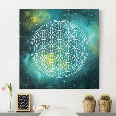 Stampa su tela - Flower Of Life In The Light Of The Stars - Quadrato 1:1