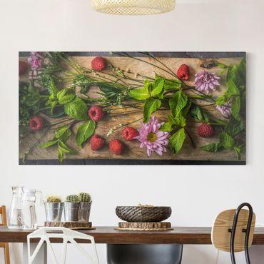 Stampa su tela - Flowers Raspberry Mint - Orizzontale 2:1