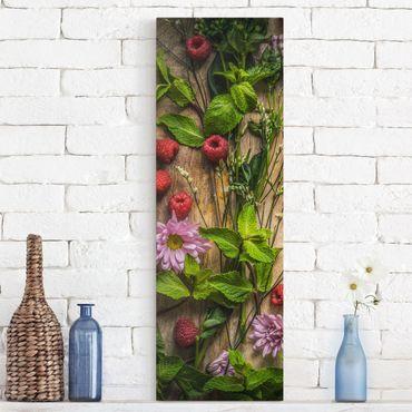 Stampa su tela - Flowers Raspberry Mint - Pannello