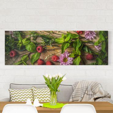 Stampa su tela - Flowers Raspberry Mint - Panoramico