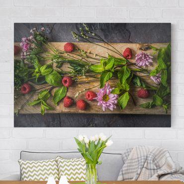 Stampa su tela - Flowers raspberry mint - Orizzontale 3:2