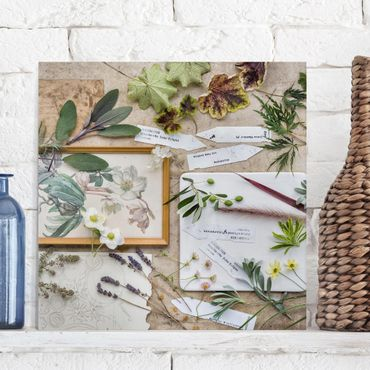 Stampa su tela - Flowers And Garden Herbs Vintage - Quadrato 1:1