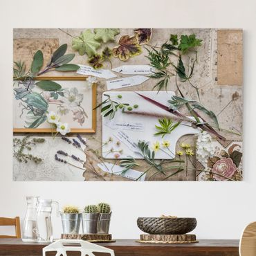 Stampa su tela - Flowers And Garden Herbs Vintage - Orizzontale 3:2