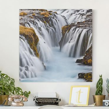 Stampa su tela - Bruarfoss Waterfall In Iceland - Quadrato 1:1