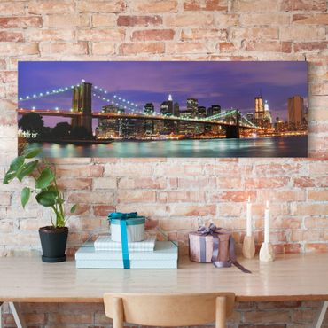 Stampa su tela - Brooklyn Bridge In New York City - Panoramico