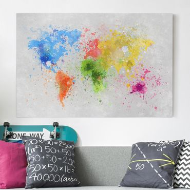 Stampa su tela - Colorful paint splatter world map - Orizzontale 3:2
