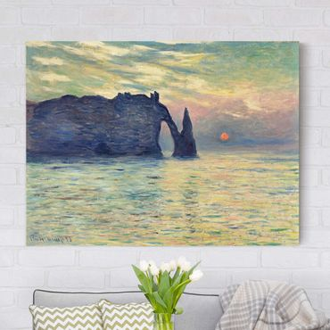 Stampa su tela - Claude Monet - Roccia, Étretat, Tramonto - Orizzontale 4:3