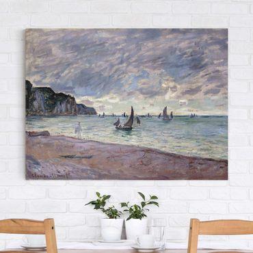 Stampa su tela - Claude Monet - Barche da Pesca di Fronte alla Spiaggia e le Scogliere di Pourville - Orizzontale 4:3