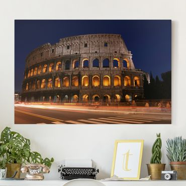 Stampa su tela - Colosseum in Rome at night - Orizzontale 3:2