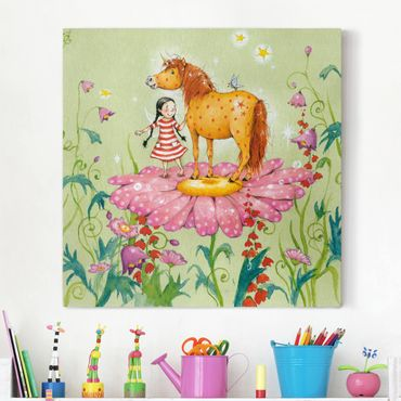 Stampa su tela - The Magic Pony On The Flower - Quadrato 1:1