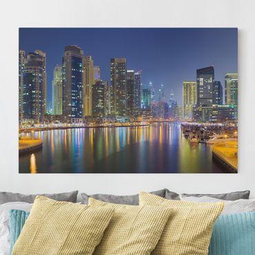 Stampa su tela - Dubai night skyline - Orizzontale 3:2