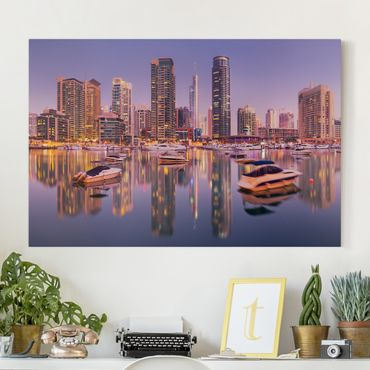 Stampa su tela - Dubai skyline and marina - Orizzontale 3:2