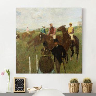 Stampa su tela - Edgar Degas - Jockeys at the Racecourse - Quadrato 1:1
