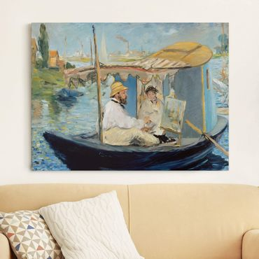 Stampa su tela - Edouard Manet - Claude Monet dipinga sulla sua Barca - Orizzontale 4:3