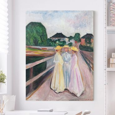 Stampa su tela - Edvard Munch - Tre Ragazze sul Ponte - Verticale 3:4