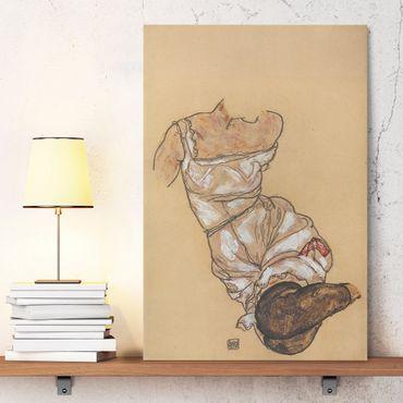 Stampa su tela Egon Schiele - Busto femminile in biancheria intima e calze nere - Verticale 2:3