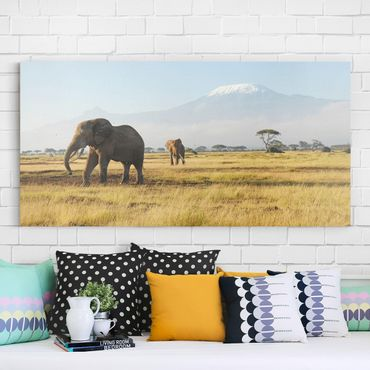 Stampa su tela - Elephants In Front Of The Kilimanjaro In Kenya - Panoramico