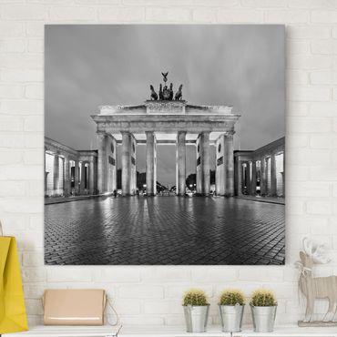 Stampa su tela - Illuminated Brandenburg Gate II - Quadrato 1:1