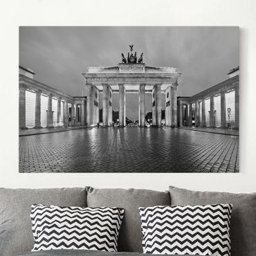 Stampa su tela - Illuminated Brandenburg Gate II - Orizzontale 3:2