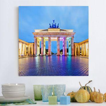 Stampa su tela - Illuminated Brandenburg Gate - Quadrato 1:1
