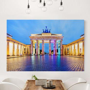 Stampa su tela - Illuminated Brandenburg Gate - Orizzontale 3:2