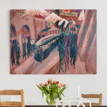 Stampa su tela - Ernst Ludwig Kirchner - Leipziger Strasse con il treno elettrico - Orizzontale 4:3