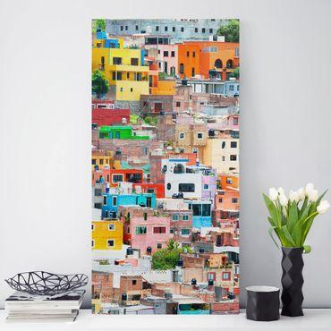 Stampa su tela Coloured house facades Guanajuato - Verticale 2:3