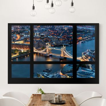 Stampa su tela - Window view of Tower Bridge at night - Orizzontale 3:2