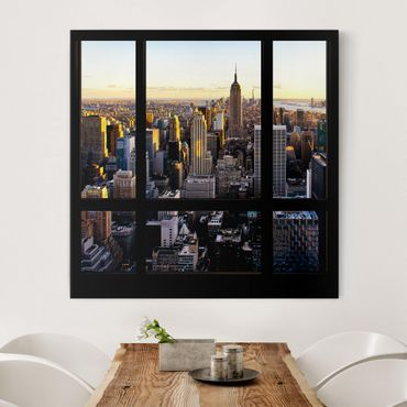 Stampa su tela - Window View At Night Over New York - Quadrato 1:1
