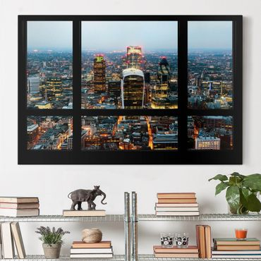 Stampa su tela - Window view illuminated skyline of London - Orizzontale 3:2