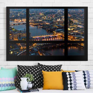 Stampa su tela - Window view of London's skyline with bridge - Orizzontale 3:2