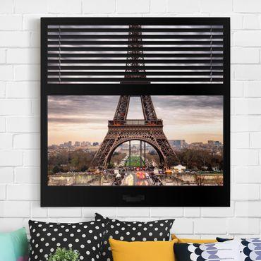 Stampa su tela - Window Blinds View - Eiffel Tower Paris - Quadrato 1:1