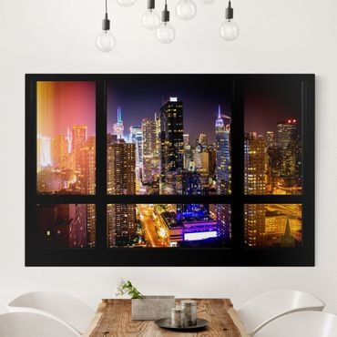 Quadro New York - Vista skyline Manhattan di notte dalla finestra - Orizzontale 3:2