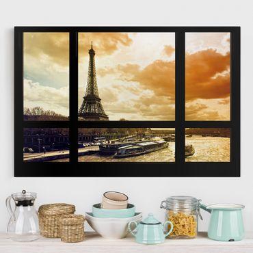Stampa su tela - Window view - Paris Eiffel Tower sunset - Orizzontale 3:2