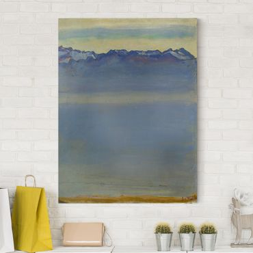 Stampa su tela - Ferdinand Hodler - Lago di Ginevra con le Alpi Savoyer - Verticale 3:4