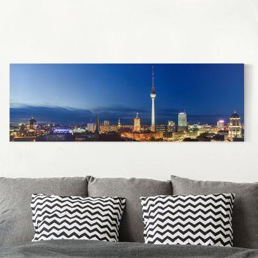 Stampa su tela - TV Tower At Night - Panoramico