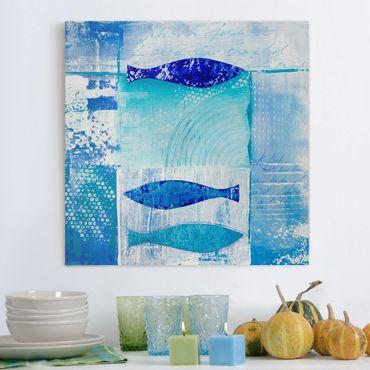 Stampa su tela - Fish In The Blue - Quadrato 1:1
