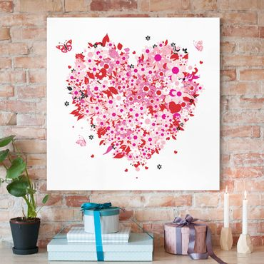 Stampa su tela - Floral Retro Heart - Quadrato 1:1