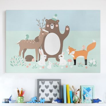 Stampa su tela - Forest Friends with forest animals blue - Orizzontale 3:2