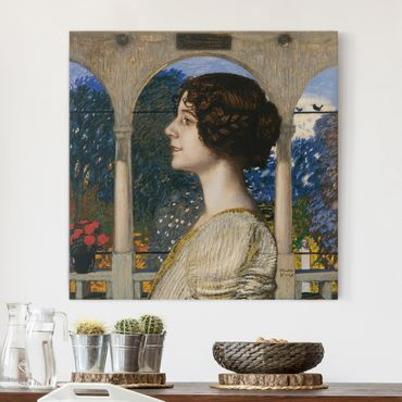 Stampa su tela - Franz von Stuck - Female Portrait, in the Portico - Quadrato 1:1